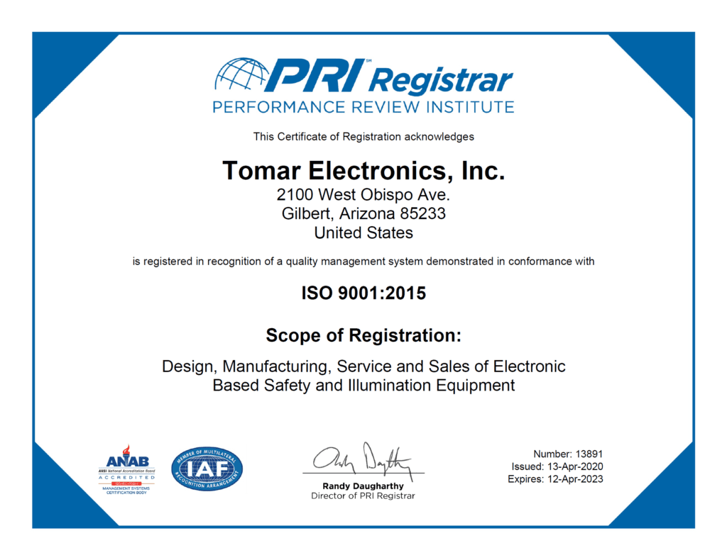 , TOMAR ISO Certificate, TOMAR Electronics Inc.